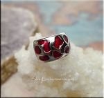 Red Enameled Large Hole Spacer Rings, Euro Beads