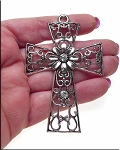 Large Filigree Flower Cross Pendant Necklace with Crystals