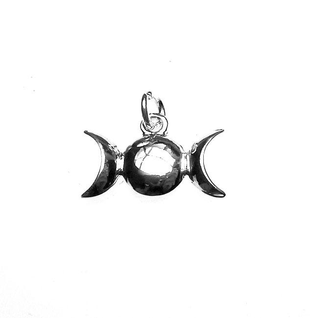 Triple Moon Charm Silver Goddess Symbol Necklace Silver Enchantments