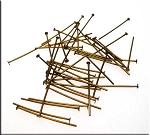 Antique Brass Plated 1-inch Head Pins (50)