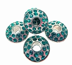 Large Hole Silver Plated Rhinestone Crystal Spacer Bead, Aqua