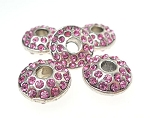 Large Hole Silver Plated Rhinestone Crystal Spacer Bead, Pink Crystals