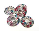 Large Hole Silver Plated Rhinestone Crystal Spacer Bead, Multicolor Crystals
