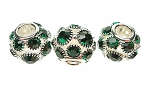 Crystal Studded Large Hole Bead, Emerald Green
