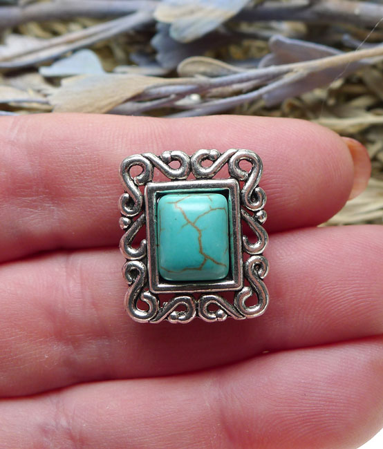 infill creative supply Glass connector faceted glass connector jewelry manufacturing silver connector opaque turquoise