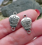 Silver Pewter Sugar Skull Jewelry Connectors 20x12mm 10 per bag
