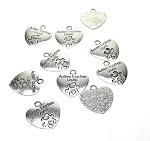 Silver Pewter Autism Touches Us All Autism Charms-Pendants 25x23mm 10 per bag