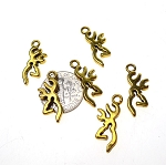 Deer Charms, 22mm Antique Gold Stag Charms (10)