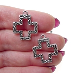 Cross Charms, Antique Silver Double Sided Southwestern (10)