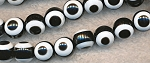 Acrylic Breads, Evil Eye 10mm Round Black and White