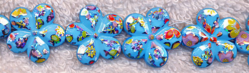 ZSOLDOUT / Acrylic Beads, Turquoise Aquamarine Flower Beads 20mm