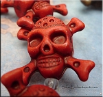 3D Red Skull Beads, Red Jolly Roger Beads, Pirate Pendant Bead