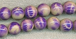 Acrylic Beads, Purple Animal Print 14mm Round