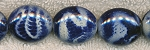 Acrylic Beads, Animal Print Blue Oval 24x20mm