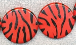 Red Zebra Print Beads, 30mm Coin Beads Strand