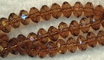 6mm Brown Topaz Faceted Rondelle Beads