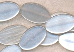 Lucite Beads, Iridescent White Oval 28x16mm