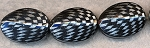 Acrylic Beads, Black and Metallic Silver Faceted Puff Oval