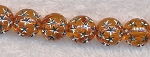 Acrylic Beads, Orange with Silver Stars Round 10mm