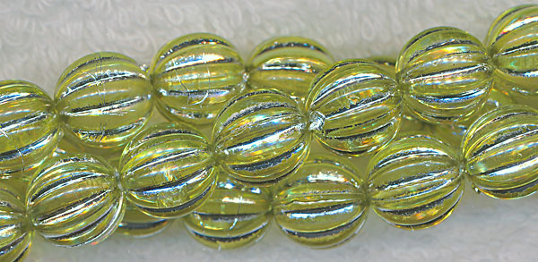 Acrylic Beads, Peridot Green with Silver Melon 12mm