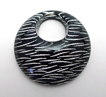 Large Black and Silver Metallic Silver Waves Pendant
