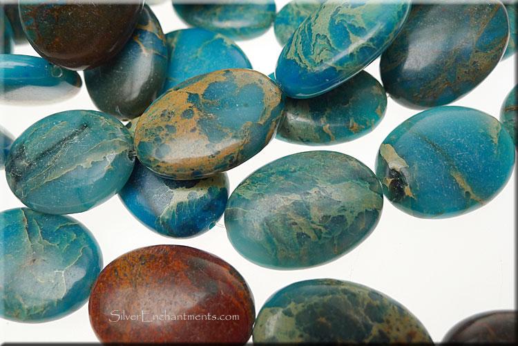 Blue African Opal Jasper Beads 25x18mm Oval