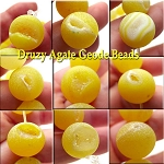14mm Round Matte Agate Beads, Druzy Geode Beads Yellow