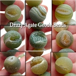 14mm Round Matte Agate Beads, Druzy Geode Beads Green