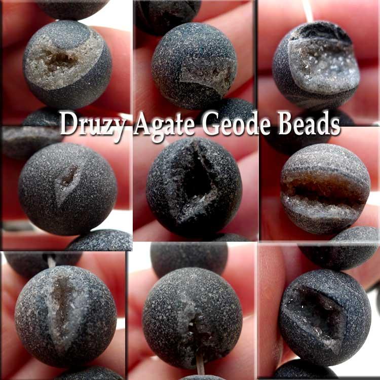 Agate Beads Geode Druzy Matte Black Druzy 14mm