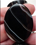 ZSOLDOUT - Agate Beads, Banded Black Agate 40x30mm