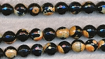 12mm Round Black and Orange Fire Agate Beads, Faceted