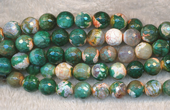 Fire Agate Beads, 8mm Round Mixed Fall Colors Faceted - SOLDOUT