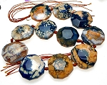 Fire Agate Bead Pendants, Designer Irregular 7-Sided Peach and Blue