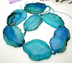 Agate Bead Pendants, Blue Designer Large Freeform