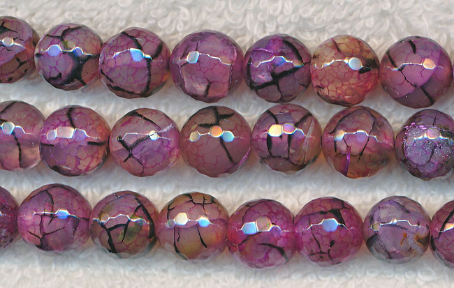 Pink Dragon Vein Agate Beads 10mm Faceted Round Silver