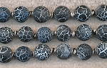 10mm Round Matte Black Fire Agate Beads