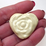 Cream White Glazed Porcelain Rose Heart Focal Bead with 3mm Hole