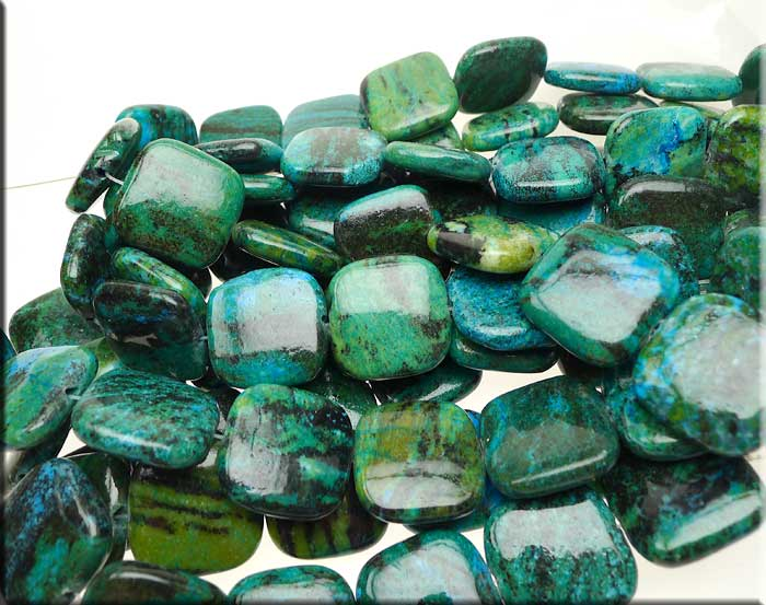 ZSOLDOUT / Chrysocolla Beads, 25mm Square Pillow