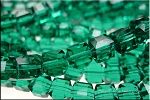 8mm Cube EMERALD Crystal Beads