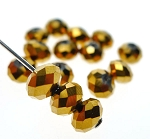 Crystal Beads, 6mm Rondelle BURNISHED GOLD (15)