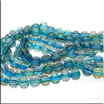 Crystal Beads, 12mm Round-Rondelle AQUAMARINE CHEVRON