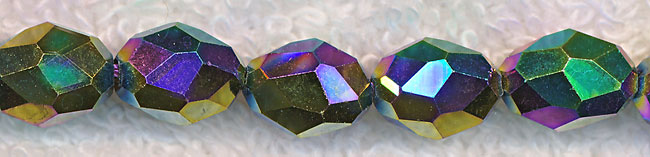 Rice Crystal Beads, MULTI Metallic VOLCANO 10x8mm Faceted Olivary