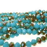 Crystal Beads, 8mm Rondelle TURQUOISE AQUAMARINE with Metallic Topaz