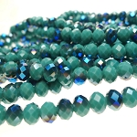 8mm Rondelle Crystal Beads TURQUOISE with Metallic BLUE