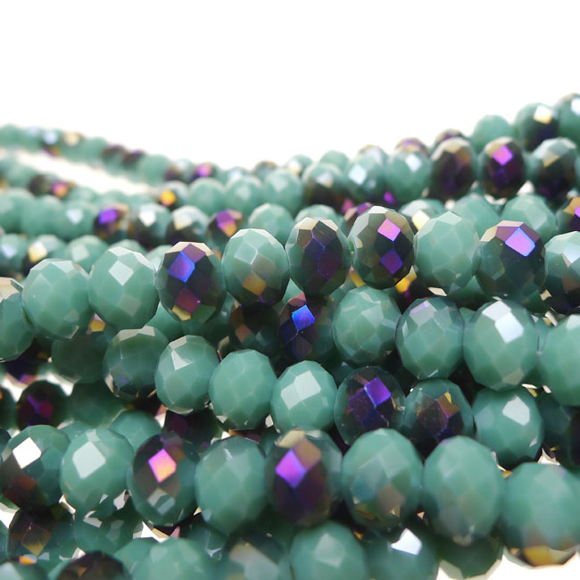 Crystal Beads, 8mm Rondelle TURQUOISE with Metallic PURPLE