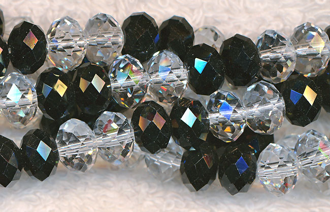 Crystal Beads, 8mm Rondelle CRYSTAL and BLACK