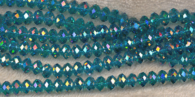Crystal Beads, 8mm Rondelle DARK AQUAMARINE AB