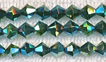Crystal Beads, 6mm Bicone METALLIC TEAL GREEN