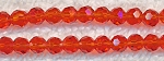 Crystal Beads, 4mm Round DARK ORANGE