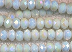 Crystal Beads, 6mm Rondelle WHITE OPAL